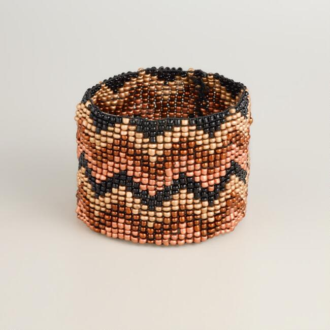 Black and Brown Chevron Bead Bracelet