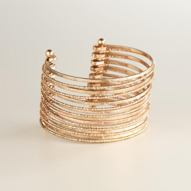 Gold Multi-Row Etched Cuff Bracelet