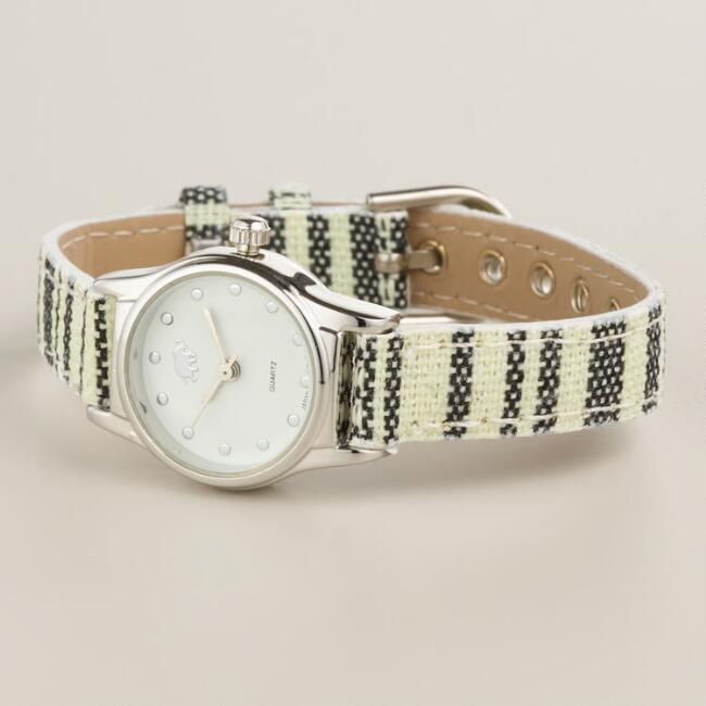 Black and Ivory Tribal Fabric Watch