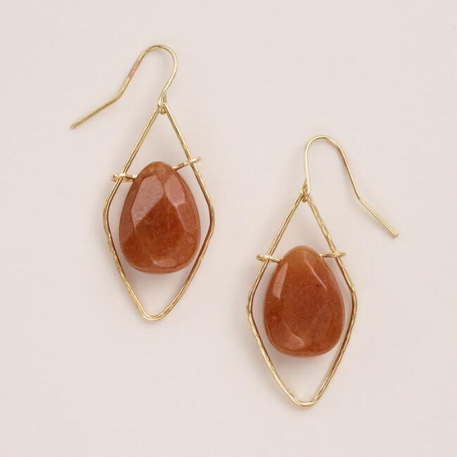 Gold and Carnelian Diamond Drop Earrings