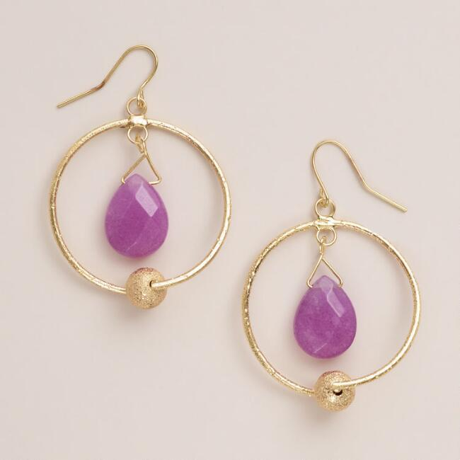 Gold and Pink Quartz Drop Earrings