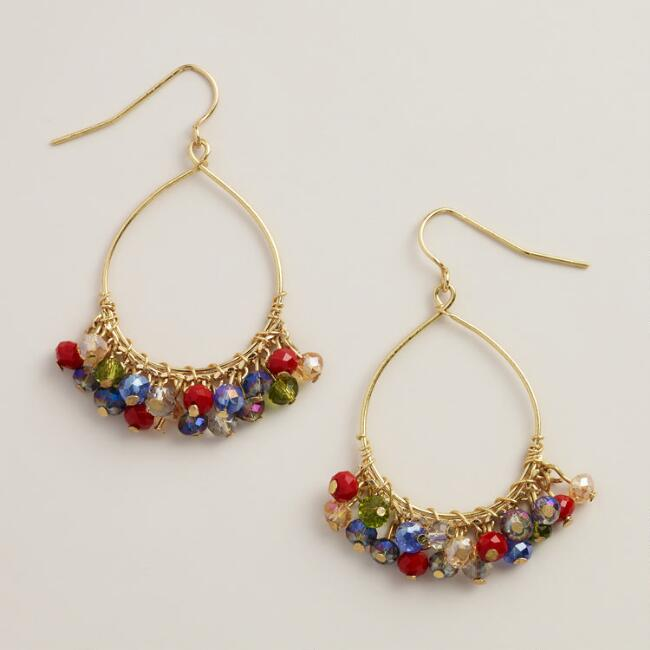 Multicolored Beads Hoop Dangle Earrings