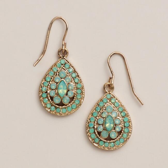 Gold Pacific Opal Teardrop Earrings