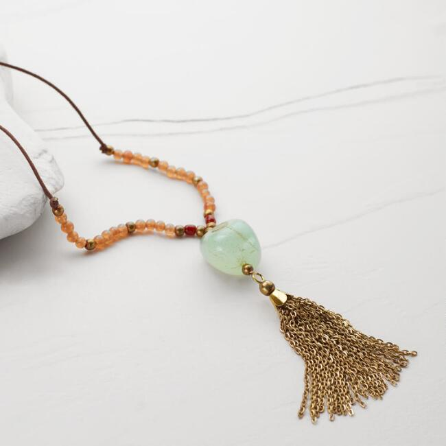Gold and Aqua Stone Tassel Necklace