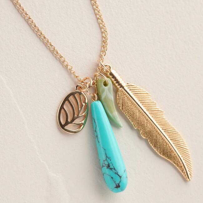Gold Feather and Turquoise Pendant Necklace