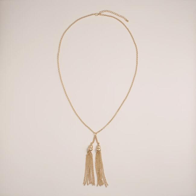 Long Gold Chain with Tassel Necklace