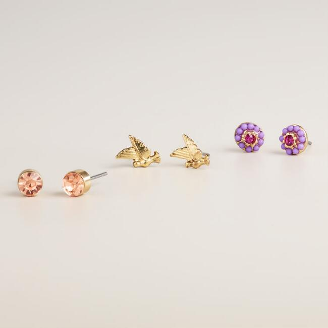 Above the Clouds Stud Earrings, Set of 3