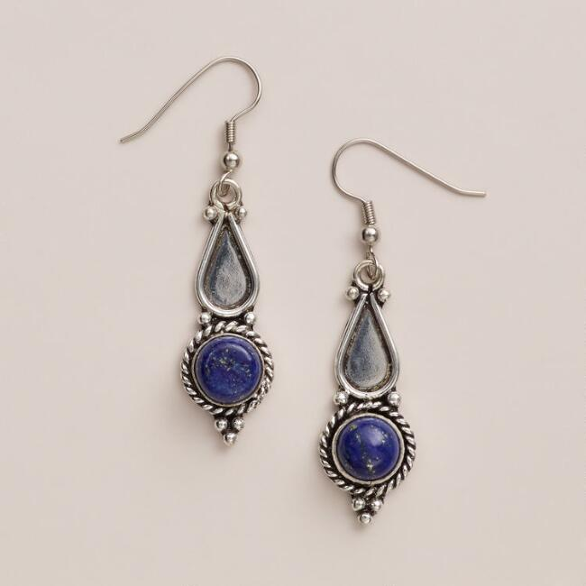 Silver Lapis Textured Drop Earrings