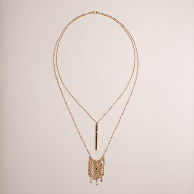 Gold Double Layer Fringe Necklace