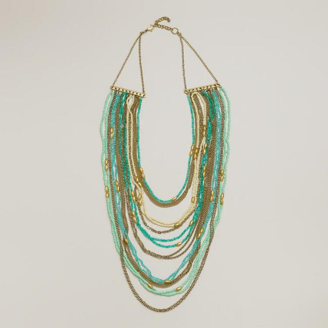 Mint and Turquoise Draped Bead Statement Necklace