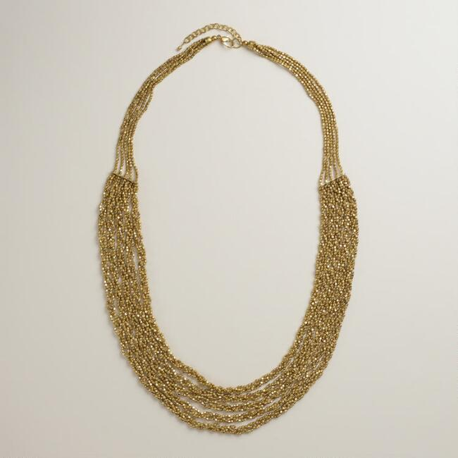 Twisted Gold Multi-Strand Beaded Necklace