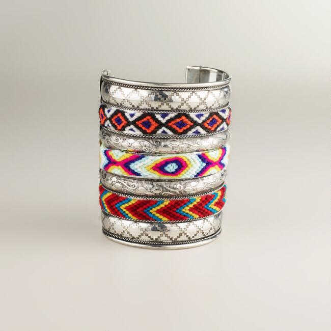 Wide Silver Tribal Cuff Bracelet