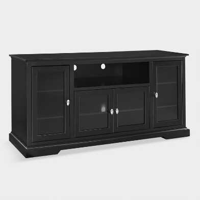Black Wood Rochester Extra-Long Storage Cabinet