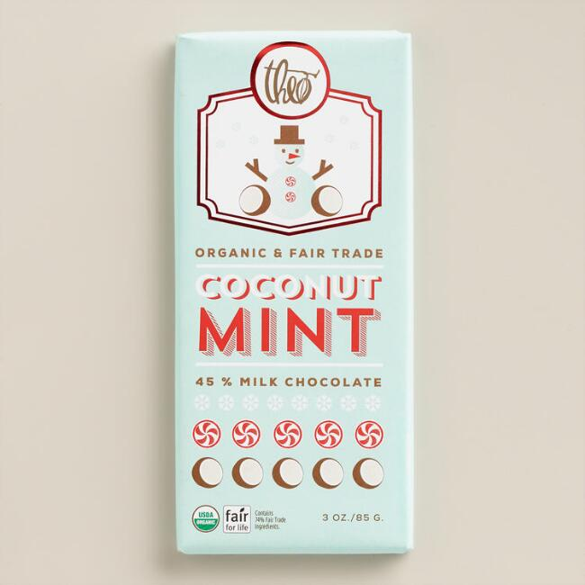 Theo Coconut Mint Milk Chocolate Bar, Set of 2