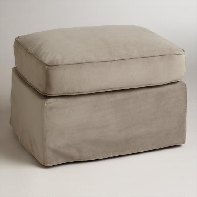 slipcover chic pique fit stretch modern product slipcovers sure ottoman