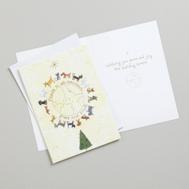 Animals Around the Globe Boxed Holiday Cards,  Set of 20