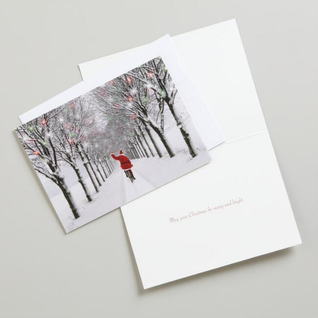 Santa on Bicycle Boxed Holiday Cards, Set of 15