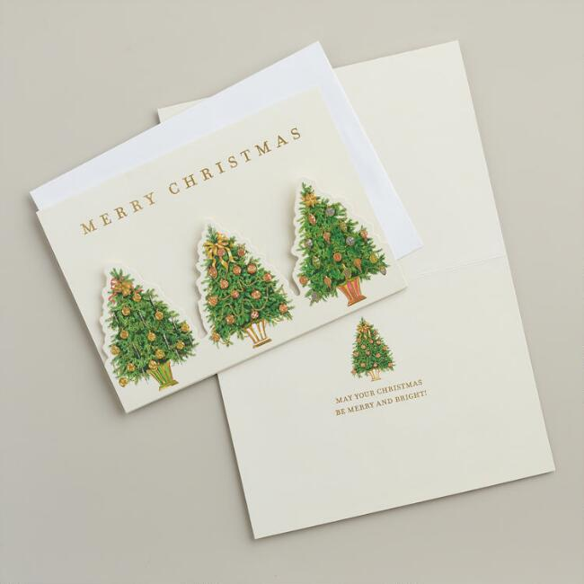 Die-Cut Christmas Trees Boxed Holiday Cards, Set of 15