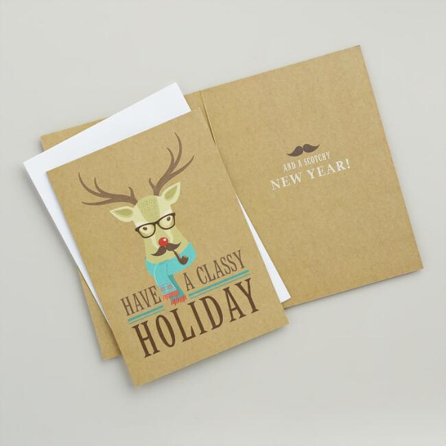 stay classy reindeer boxed holiday cards set of 15 world market