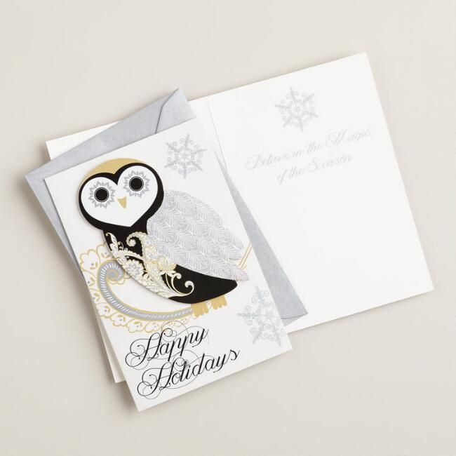 Soiree Owl Boxed Holiday Cards, Set of 15