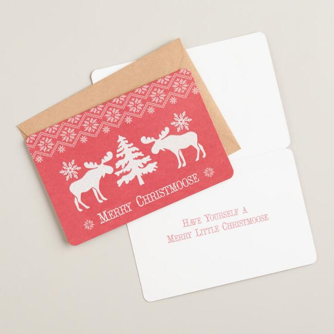 Merry Christmoose Boxed Holiday Cards, Set of 15