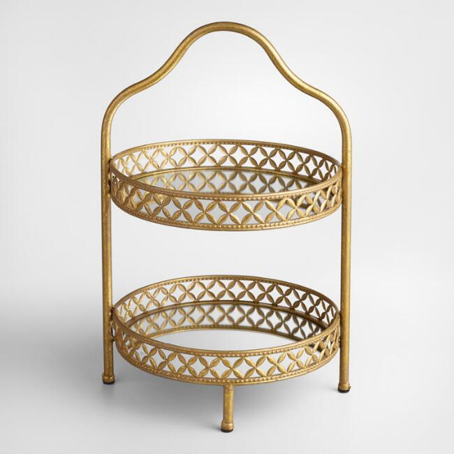 Gold 2-Tiered Stand