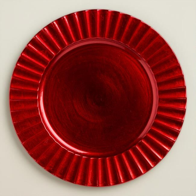 Red Fluted Chargers, Set of 4