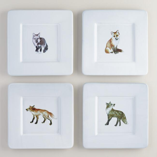 Woodland Fox Square Plates, Set of 4