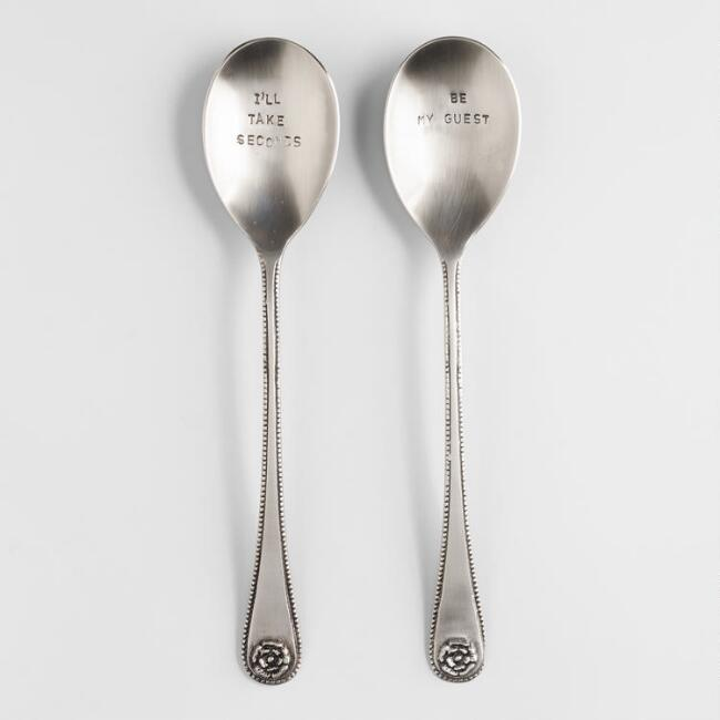 Metal Hand-Stamped Serving Spoons, Set of 2