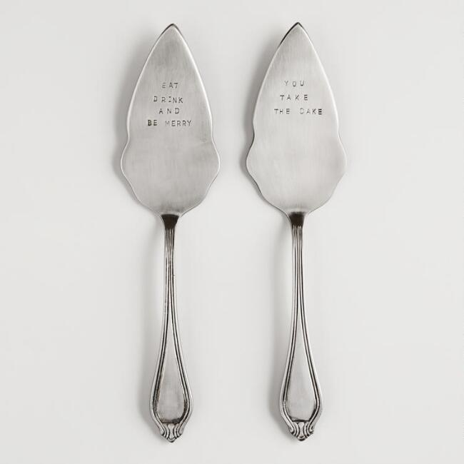 Metal Hand-Stamped Cake Servers, Set of 2