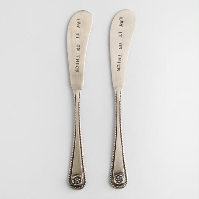 Metal Hand-Stamped Cocktail Spreaders, Set of 2