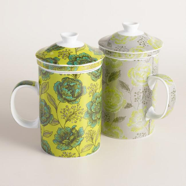 Floral Fortress Bouquet Porcelain Infuser Mugs, Set of 2