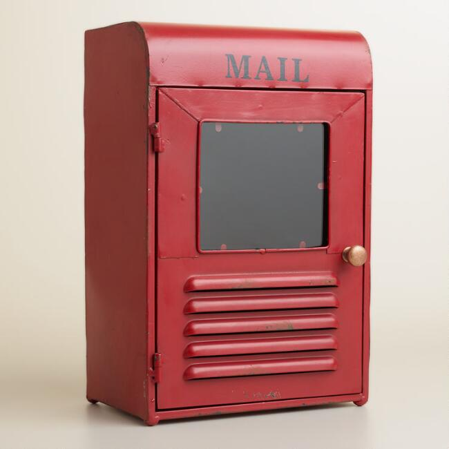 Red Metal Mailbox Desk Organizer