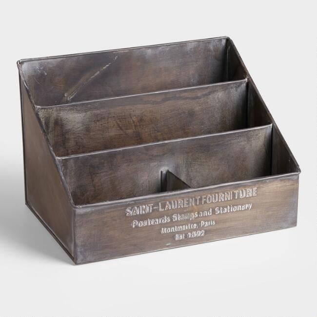 Embossed Metal St. Laurent Desk Organizer