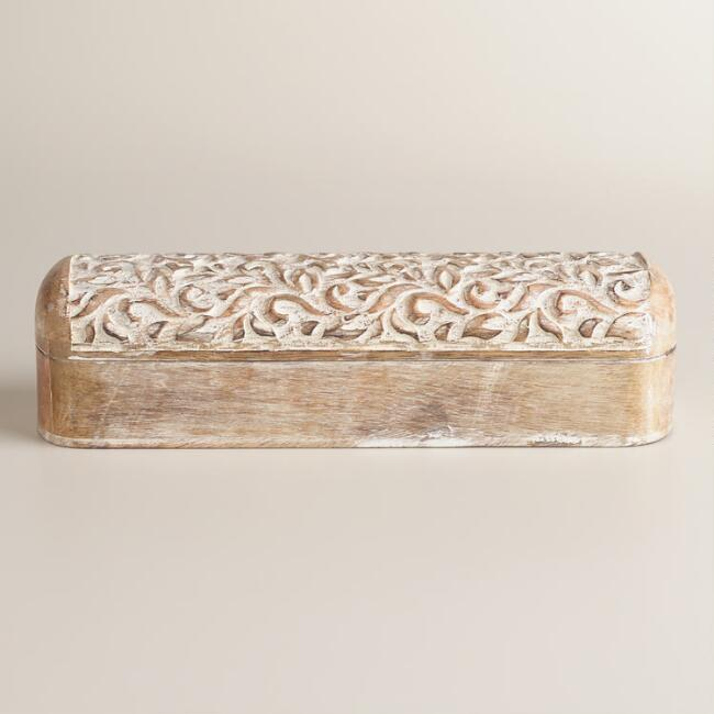 Whitewash Hand-Carved Wood Pencil Box