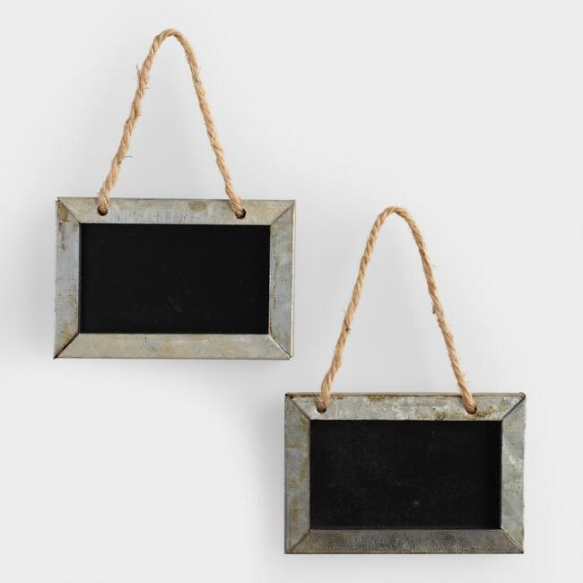 Mini Metal Chalkboard Signs, Set of 2