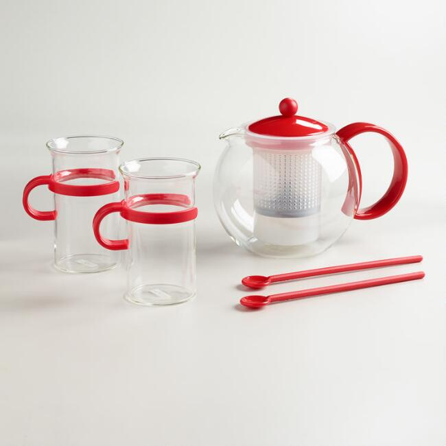 Red Bodum Assam 5-Piece Tea Press Set