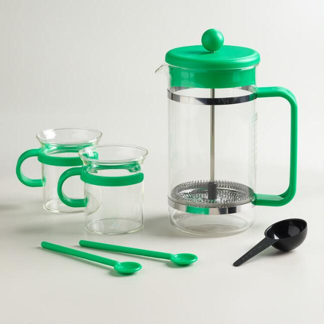 Green Bodum Bistro 5-Piece French Press Coffee Maker Set