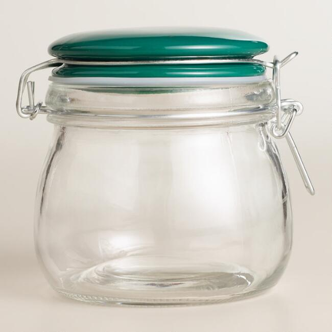 Small Glass Canister With Green Ceramic Clamp Lid World Market