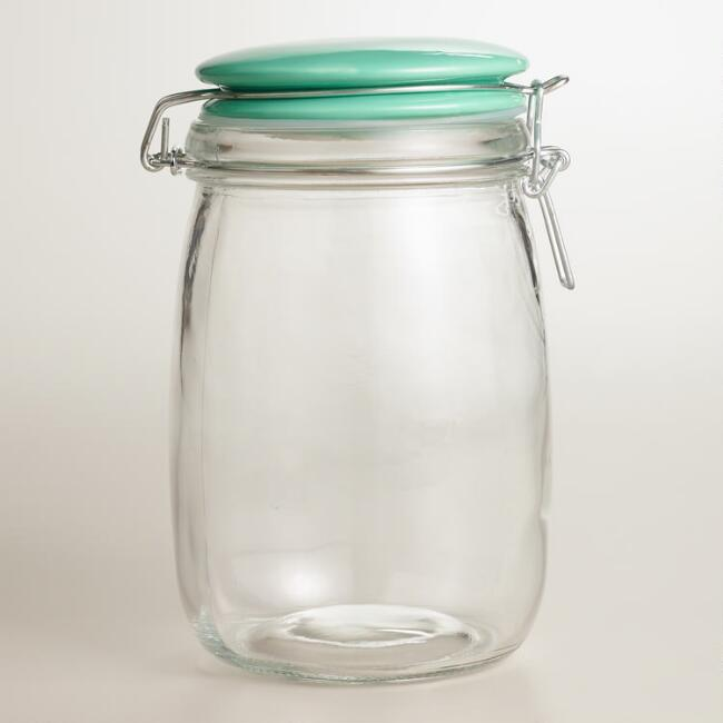 Medium Glass Canister with Mint Ceramic Clamp Lid