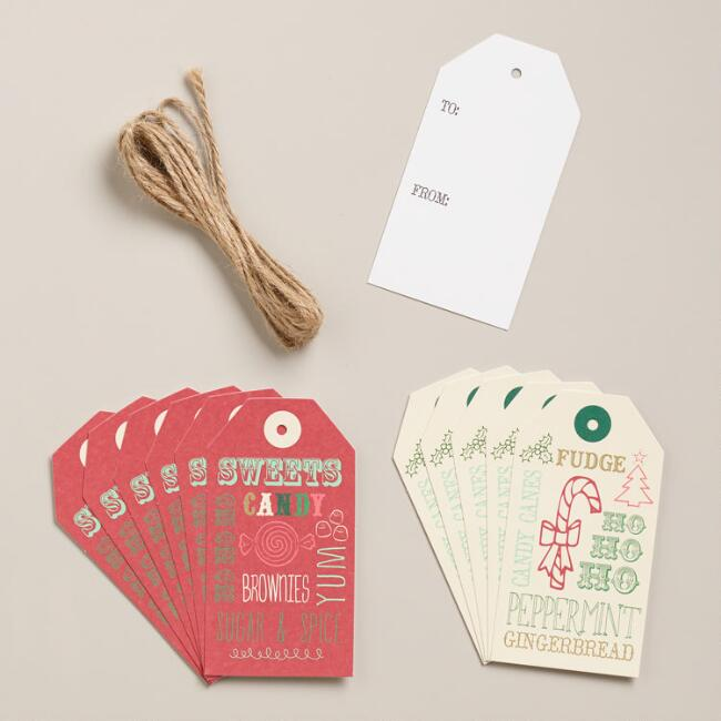 Holiday Greetings Gift Tags, 12-Pack