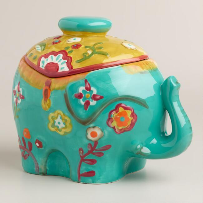 Royal indian elephant ceramic cookie jar world market