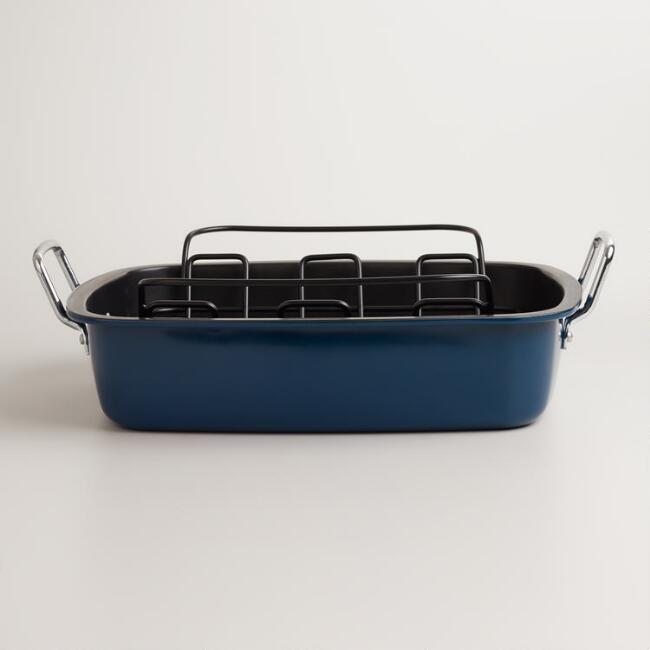 Blue Enamel-on-Steel Roaster with Rack