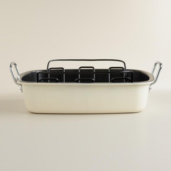 Ivory Enamel-on-Steel Roaster with Rack