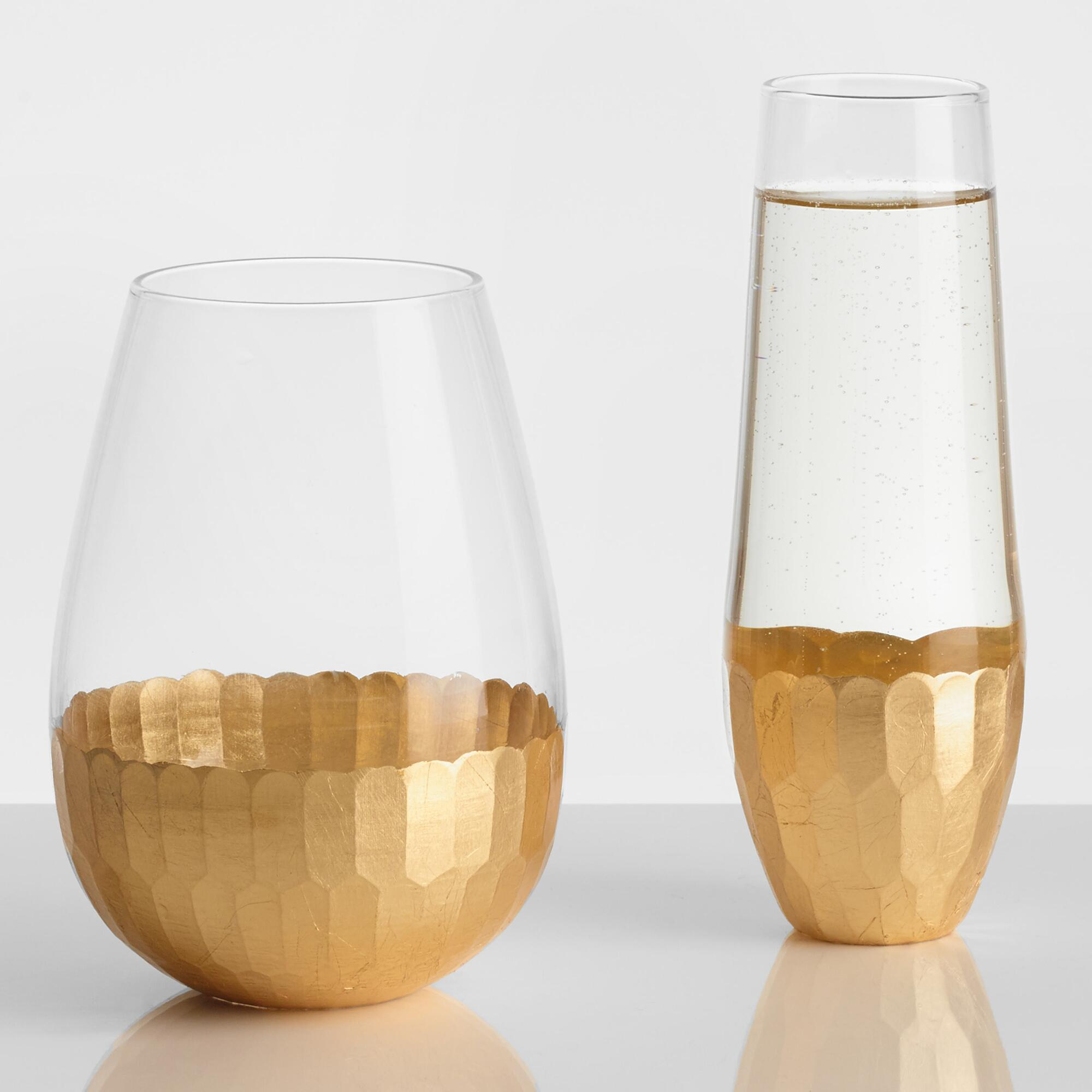 Gold Stemless Glassware Collection by World Market