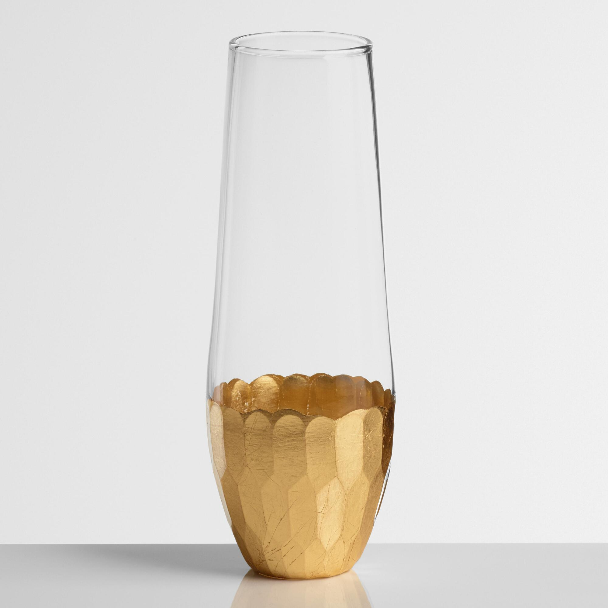 Gold Stemless Champagne Flutes Set of 4 - Glass by World Market