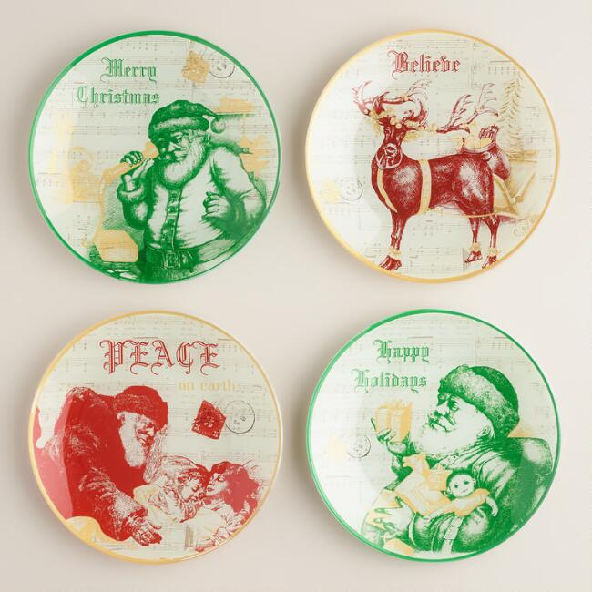 Round Buon Natale Glass Plates, Set of 4