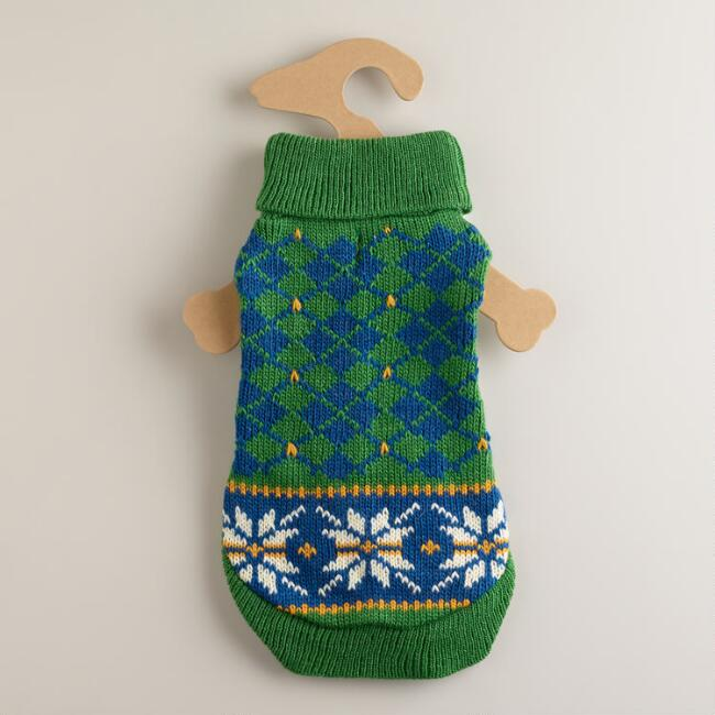 Small Green Snowflake Dog Sweater