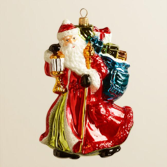 European Glass Lantern Santa Ornament