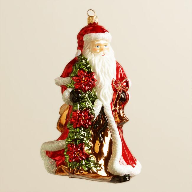 European Glass Poinsettia Santa Ornament
